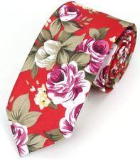 New Hawaiian Shirt Neck Tie Red Flower Floral NeckTie Luau Hawaii US SELLER
