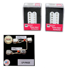 Duncan Pearly Gates Humbucker Pickup Set, White + Page Les Paul Wiring Harness