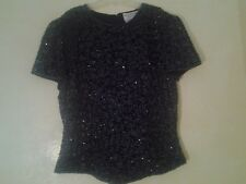 Papell Boutique Evening Black Beaded Top Size M (Size 8)