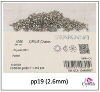 Pp2 Cristal Transparente Swarovski chatons 1028 puso de vuelta menos 1mm Micro Tiny 12 un.