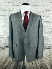Hickey Freeman Two Button Sport Coat Jacket Size 46L 100% Linen Gray Plaid