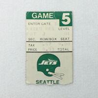 1980's NY JETS football ticket stub ~ vs Seattle Seahawks