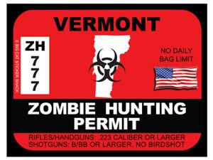 Vermont Zombie Hunting Permit (Bumper Sticker)