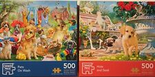 Corner Piece 2 x 500-Piece Jigsaw Puzzles - PETS ON WASH & HIDE AND SEEK