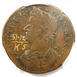 1787 Connecticut Draped Bust Left Coin W-4105 Rarity-5 - PCGS XF45 - R5 Variety!