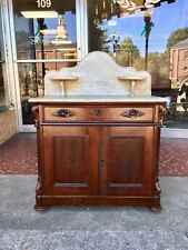 American Rococo Revival Walnut and Marble-Top Washstand
