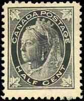 Canada #66 mint VF OG HR DG 1897 Queen Victoria 1/2c black Maple Leaf CV$20.00