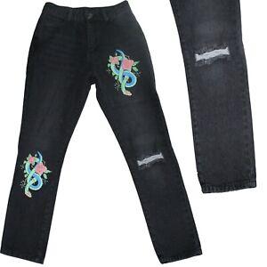 Ladies Womens Floral Snake Print Jeans Ripped Knee Denim Pants Trousers Medium