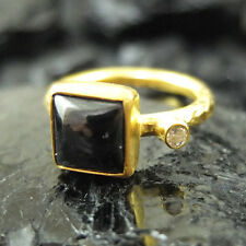 Handmade Hammered Square Black Onyx Ring W/ Topaz Gold over 925K Sterling Silver