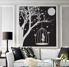 Wall Vinyl Sticker delightful night scenery woman silhouette moon light (n521)