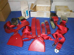 1982-92 Camaro Firebird Set FLAME RED Full set Seat Belts GM LOOK