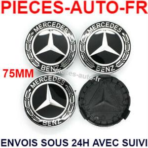 4x Logo Emblème Mercedes 75mm Jante Cache Moyeu Centre De Roue Insigne NOIR