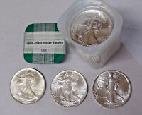Complete Set of 20 American Silver Eagles 1986-2005 .999 Fine Silver Dollars