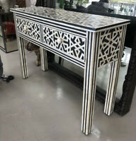 Handmade Bone Inlay Black White Console Table