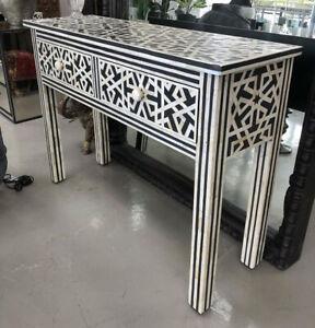 Handmade Bone Inlay Black White Console Table