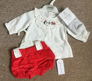 M&S Baby Girls 3 Piece Set -Blouse Shorts & Tights Christmas 0-3 Months Bnwt