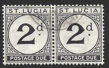 St Lucia 1933-47 2d Black Postage Due SG D4 Fine Used Pair