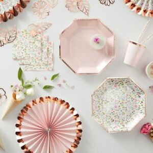 Ditsy Floral Pink & Rose Gold Party Tableware - Birthday, Wedding, Baby Shower