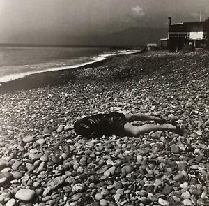 Helmut Newton, 1996, ON THE BEACH, Bordighera, Italy, Matted , mounted PHOTOLITH