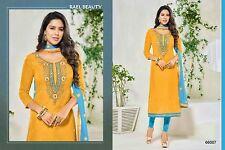 New The Dernier Fashion Yellow Chanderi Cotton Ethnic Women Dress Material