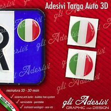 2 Adesivi Stickers bollino 3D Resinato targa Auto Moto Bandiera Italia