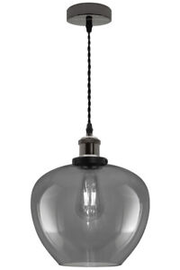 Vintage Smoked Glass Shade Chandelier Pendant Ceiling Home Pub Diner Light M0229