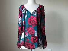 NWT White house black market floral lace boho blouse top shirt size Large