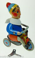 Kovap Tinplate Boy on a Tricycle - Large Windup Collector Quality European Made