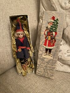 Antique Rare All Original Alpine Christmas Bisque Mignonette Doll Christmas Box