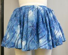 BLUE GLITTER PRINTED TUTU GATHERED DANCE COSTUME SKIRT-Size ADULT SIZE S