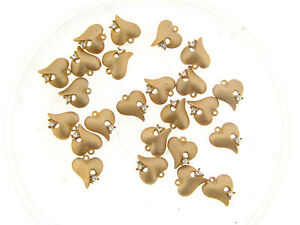 Vintage Gold Matte Plate Clear Crystal Accent Freeform Heart Charm Pendants Lot