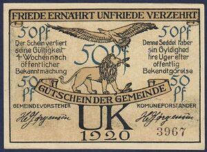 DENMARK 50 PFENNIG 1920 UNC