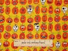 Dem Bones Pumpkin Skull Spider Bat Halloween Yellow Orange Cotton Fabric YARD