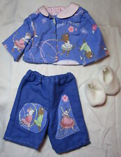 Doll Clothes 18 in, Fit American Girl SET Blue Angelina Ballerina PJs Slippers