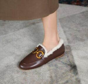 Women's Genuine Leather Casual Loafers Shoes Buckle Flats Wool Lined Shoes White