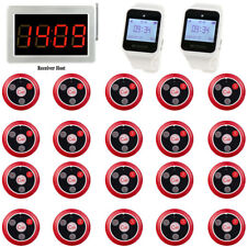 Waitress Pager System LED Host+20*Call Button+2*Watch Receivers 3 Language 999CH