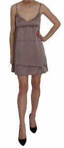 PINK MEMORIES Dress Silk Purple Spaghetti A-line Mini IT46/US12/XL RRP $300