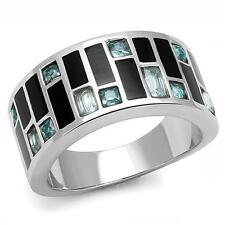 HCJ 10MM WIDE BAND STAINLESS STEEL ART DECO SEA BLUE CZ RING SIZE 8