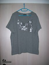 "Damen-Kurzarm-Shirt  ""WOB"", Gr. 52 / 2XL, grau-melliert mit Blumen-Aufdruck"