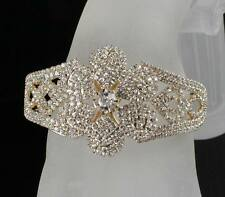 FLOWER BRIDAL AUSTRIAN CRYSTAL BANGLE BRACELET CUFF GOLD GP WEDDING PROM B12120G