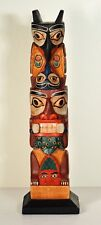 FIRST NATIONS PACIFIC NORTHWEST MODEL TOTEM POLE ~ POSSIBLY HAIDA ~ HAND-CARVED