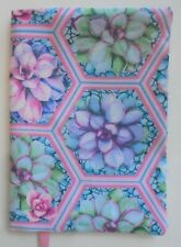 Fabric Paperback Book Cover Flower Fabric Cacus Succulent Pink Blue Succulents