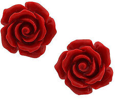 4Colors  Fashion Jewelry 12x12mm Coral Rose Flower Silver Stud Earrings