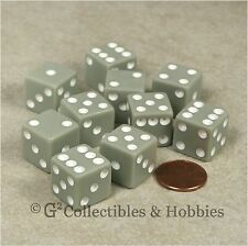 NEW 10 Pastel Gray w White D6 6 Sided RPG Bunco Game Dice Set 16mm 5/8 inch Grey