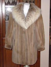 DESIGNER SHEARED MINK CANADIAN LYNX SPOTTED FUR STROLLER LENGTH COAT JACKET XL