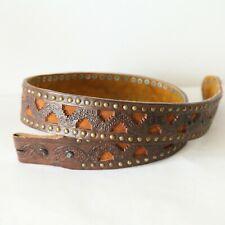 """Vintage Hand Tooled Leather Western Belt Cutout Studs Embellished Thick 32"""" - 37"""