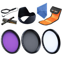 55mm UV CPL FLD Filter Set Kit Lens Hood Cap Keeper Cleaning Pen For Canon Nikon