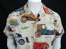 Vintage Mens Button Front Handmade Antique Cars Print Hawaiian Safari Shirt M