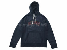 Abercrombie Fitch Jean Men Navy Blue/ Red Heavyweight Distressed Hoodie Pullover