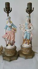 Vintage Pair of Figural French Porcelain Table Lamps
